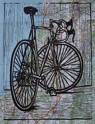 Drawing - Bike 4 On Map by William Cauthern