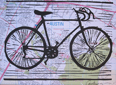 Drawing - Bike 8 On Map by William Cauthern