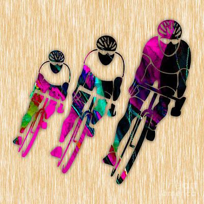 Mixed Media - Biking by Marvin Blaine