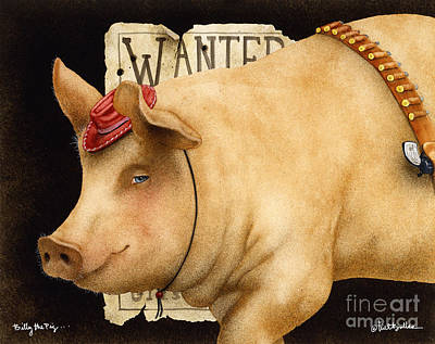 Pig Painting - Billy The Pig... by Will Bullas
