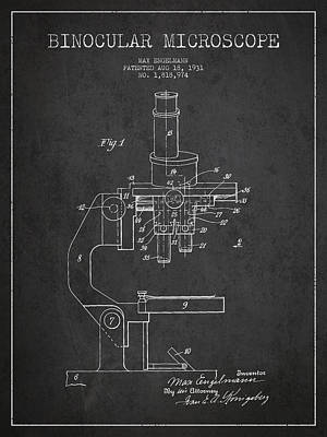 Glass Wall Digital Art - Binocular Microscope Patent Drawing From 1931 by Aged Pixel
