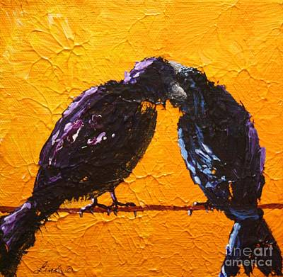 Starlings Painting - Birds In Black by Linda Eversole