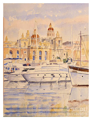 Birgu Painting - Birgu Waterfront by Godwin Cassar