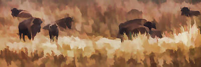 Plain Air Painting - Bison  Bison Bison Athabascae  Grazing by Ron Harris