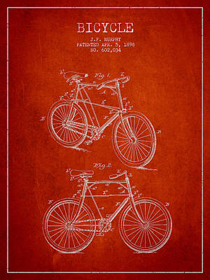 Transportation Digital Art - Bisycle Patent Drawing From 1898 by Aged Pixel