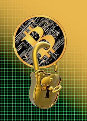 Electronic Photograph - Bitcoin And Padlock by Victor Habbick Visions