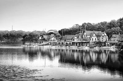 Black And White Boathouse Row Art Print by Bill Cannon