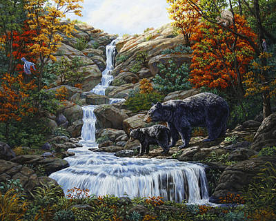 Bear Cub Painting - Black Bear Falls by Crista Forest