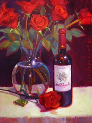 Wine Painter Painting - Black Cherry Bouquet by Penelope Moore