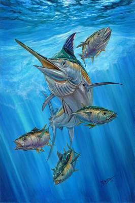 Black Marlin And Albacore Art Print by Terry Fox