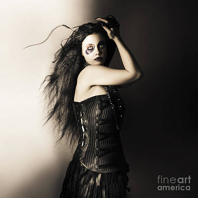 Black Portrait Of A Sexy Fashion Make Up Model   Art Print by Jorgo Photography - Wall Art Gallery