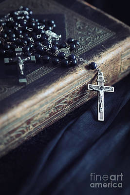 Photograph - Black Rosary Beads With Leather Book by Sandra Cunningham