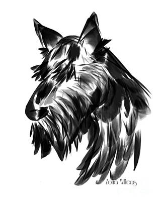 Scottish Terrier Drawing - Black Scotty by Zofia Williams