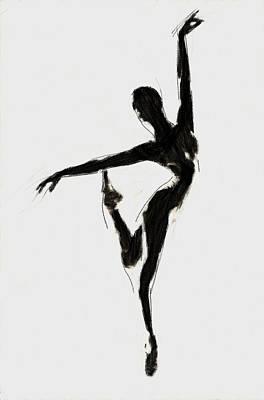 Ballet Dancers Painting - Black Swan by Steve K