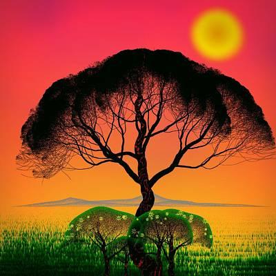 Digital Art - Black Tree - Algorithmic Art by GuoJun Pan