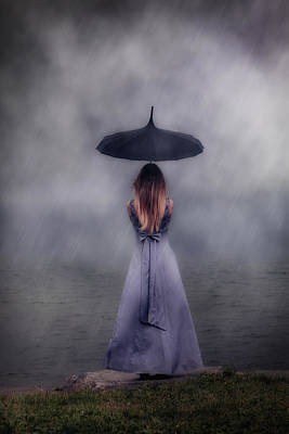 Purple Rain Photograph - Black Umbrella by Joana Kruse