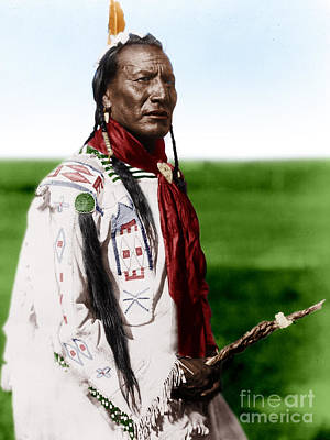 Blackfoot Man With Braided Sweet Grass Ropes Art Print by Celestial Images
