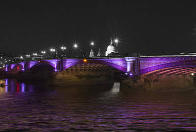 Blackfriars Bridge London Thames At Night  Art Print by David French