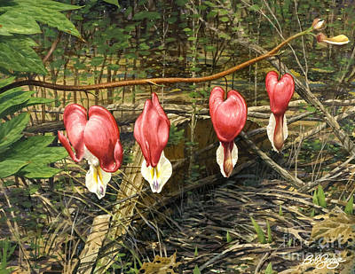 Painting - Bleeding Hearts by Bob  George