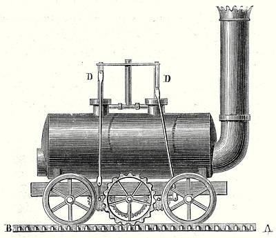 Pinion Drawing - Blenkinsops Toothed Rack Locomotive by English School