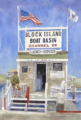 Boat Basins Painting - Block Island Boat Basin by Sharon Lehman