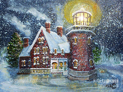Painting - Block Island Lighthouse In Winter by Rita Brown