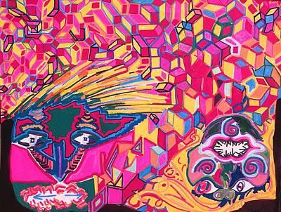 Upside-down Drawing Painting - Blockheads by Howard Yosha