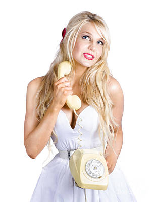 Blond Lady On Old-fashion Telephone Communication Print by Jorgo Photography - Wall Art Gallery