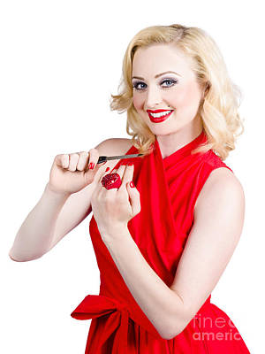 Red Nail Polish Photograph - Blond Pinup Woman In Red Dress Making Manicure by Jorgo Photography - Wall Art Gallery