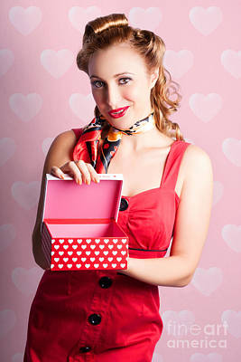 Photograph - Blond Retro Girl Opening Hearts Present Gift Box by Jorgo Photography - Wall Art Gallery