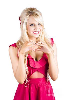Blonde Woman Making Heart Shape Art Print by Jorgo Photography - Wall Art Gallery