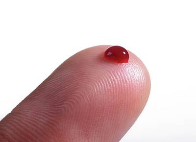 Blood Droplet On Finger Art Print by Cordelia Molloy