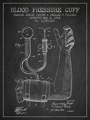 Cuff Drawing - Blood Pressure Cuff Patent From 1914 by Aged Pixel