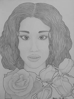Drawing - Blooming Girl Rose  by Aaron El-Amin