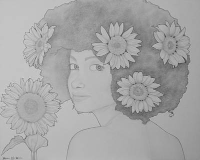 Drawing - Blooming Girl Sunflower  by Aaron El-Amin