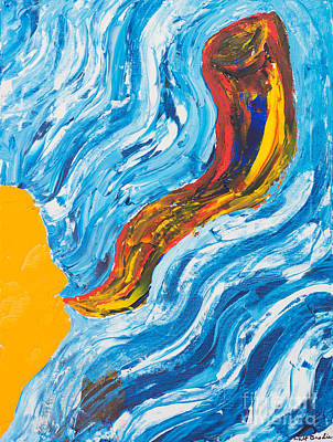 Painting - Blowing The Shofar by Walt Brodis