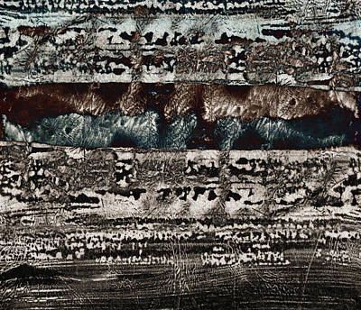 Primitive Mixed Media - Blue And Black Textures by Carol Leigh