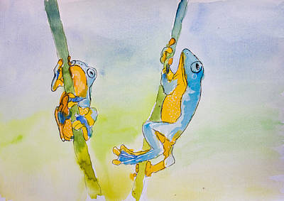 Fauna Painting - Blue And Orange Tree Frogs by Pati Photography