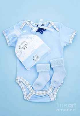 Snap Photograph - Blue Baby Clothes For Infant Boy by Elena Elisseeva
