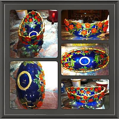 Glass Art - Blue Bowl by Rae Chichilnitsky