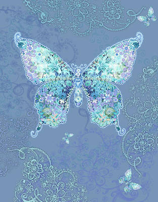 Alixandra Mullins Photograph - Blue Butterfly Floral by Alixandra Mullins