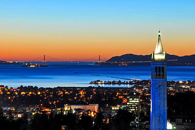 Photograph - Blue Campanile And Golden Gate At Sunset by Joel Thai