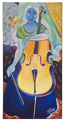 Painting - Blue Cello Woman by Marlene LAbbe