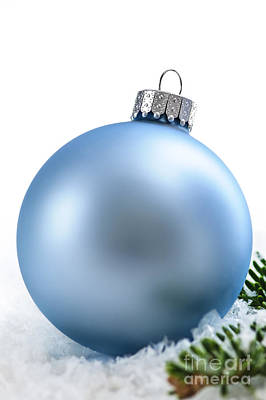 Pine Needles Photograph - Blue Christmas Bauble by Elena Elisseeva