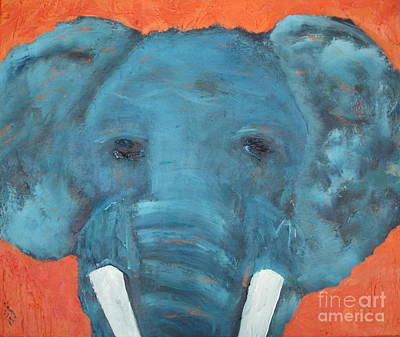 Painting - Blue Elephant by Shelley Jones