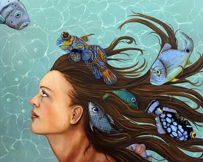 Scuba Painting - Blue Fish by Leah Saulnier The Painting Maniac