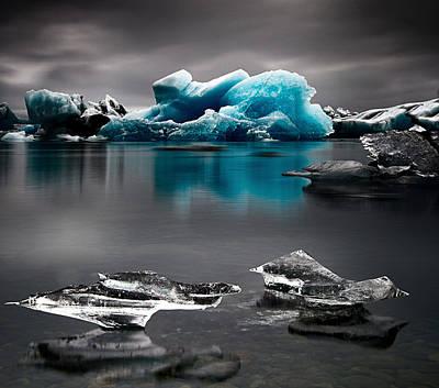 Blue Glacier Ice Iceland Art Print