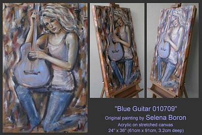 Art Print featuring the painting Blue Guitar 010709 by Selena Boron