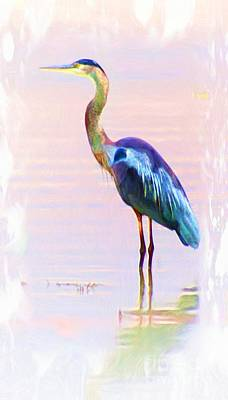 Blue Heron Art Print by John  Kolenberg