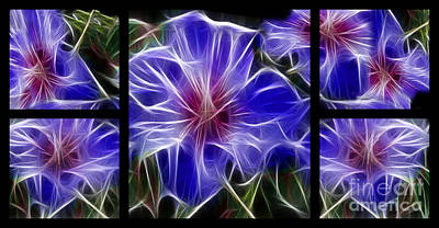 Luminous Digital Art - Blue Hibiscus Fractal by Peter Piatt